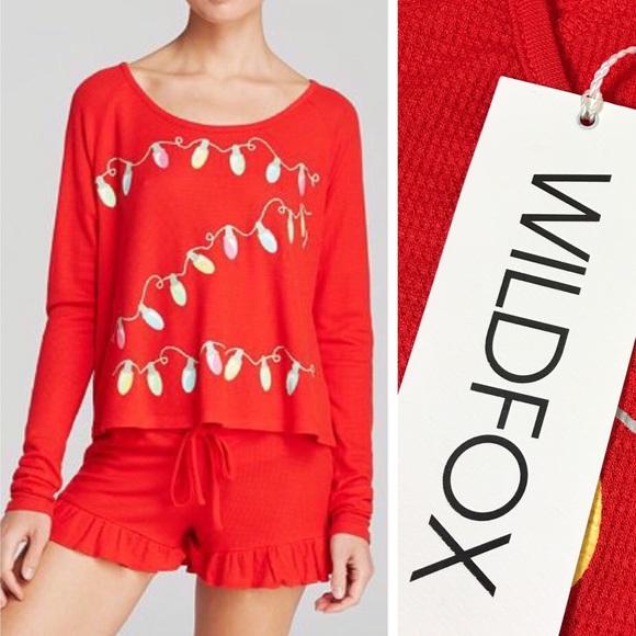 Wildfox Christmas Pajamas.Wildfox Christmas Lights Cabin Fever Pajamas M Nwt